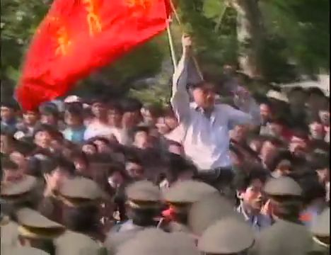 Students march to Tiananmen Square on May 4, 1989